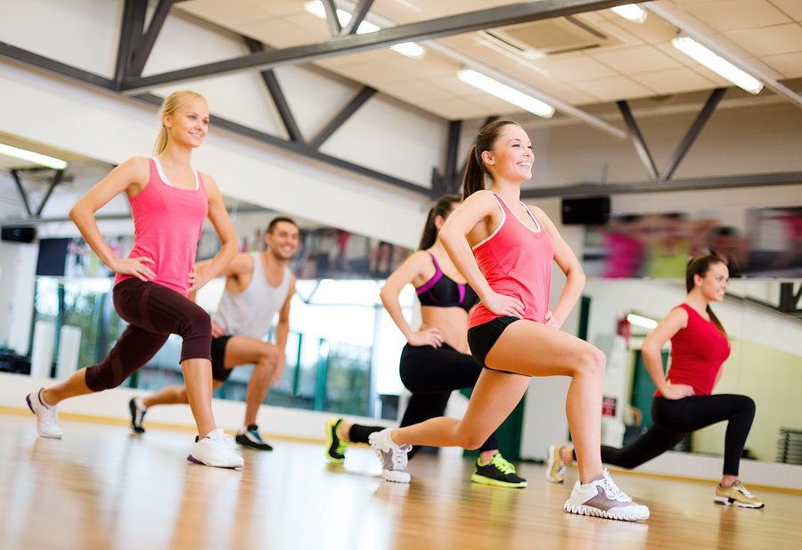 fitness, sport, training, gym and lifestyle concept - group of s